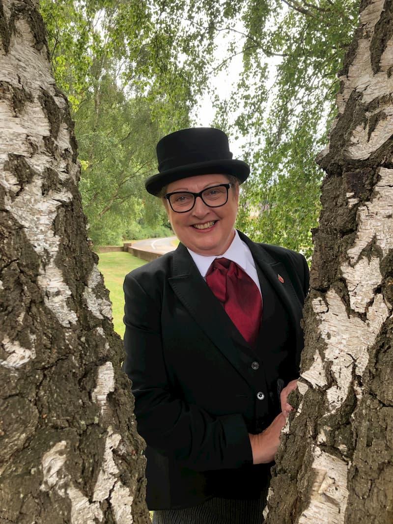 Karen Mead in funeral attire
