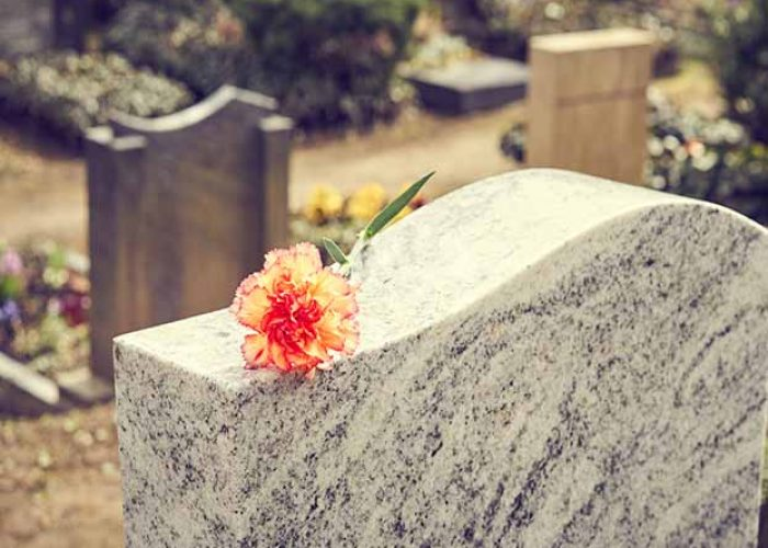 Flower on headstone, swindon funeral